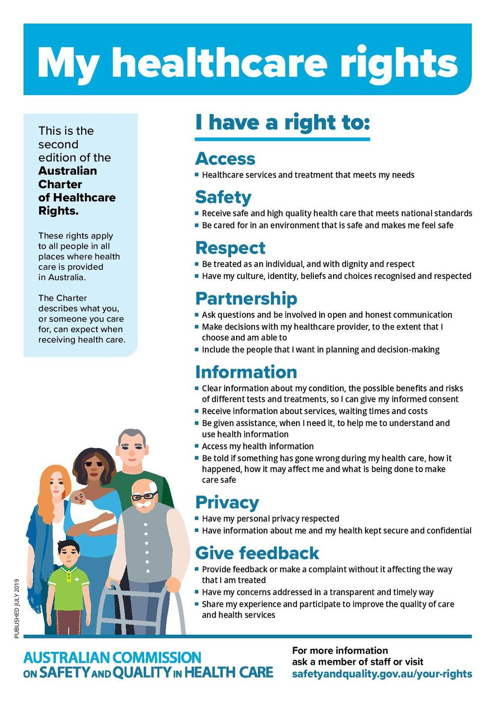 Charter of Healthcare Rights A4 poster ACCESSIBLE