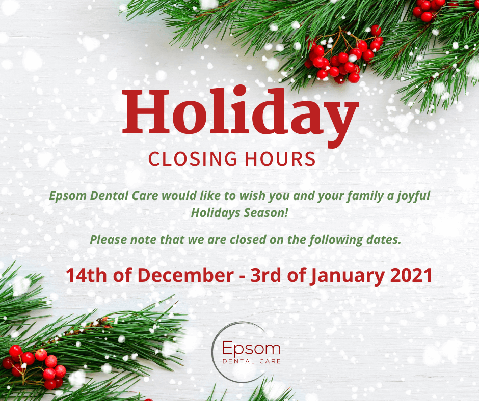 epsom dental care holiday closing hours banner